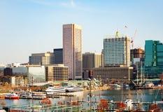 Porto do porto e skyline internos de Baltimore, EUA fotografia de stock royalty free