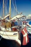 Porto do iate de Hasle do dinamarquês na ilha de Bornholm fotografia de stock royalty free