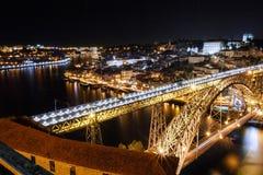 Porto with the Dom Luis I bridge illuminated in the night stock image