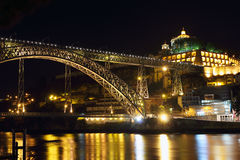 Porto and Dom Luiz bridge at night Stock Photos
