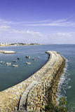 Porto dos pescadores de Albufeira e praia, o Algarve Fotografia de Stock