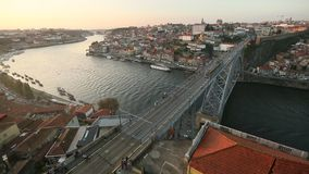 Porto, Douro river and Old Town (Dom Luis I Bridge at Ribeira) stock video footage