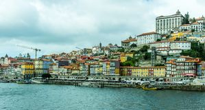 Porto Douro rivierdokken en oude stad, Portugal Royalty-vrije Stock Foto