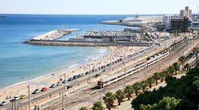 Porto e estrada de ferro em Tarragona Fotos de Stock Royalty Free