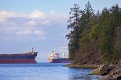 Porto e Georgia Strait de Nanaimo de Jack Point na ilha de Vancôver fotografia de stock