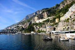 Porto e litoral na costa de Amalfi Imagem de Stock