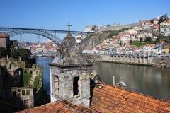 Porto en Gaia Cityscape in Portugal Stock Afbeelding