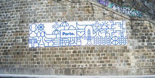 Porto engraving on wall Royalty Free Stock Images