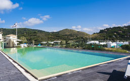 Porto ercole city (panoramic see). Splendid rooftop swimming pool with panoramic views Royalty Free Stock Photos