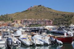 Porto ercole, tuscany, italy, europe. Porto ercole, port, argentario, berthed boats, into the port, tuscany, italy Stock Image