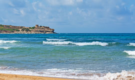 Porto Ferro waves. On a cloudy windy day Royalty Free Stock Image