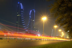 Porto finanziario della Bahrain - scena di notte Fotografia Stock