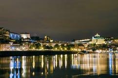 Porto flodstrandsikt vid natt i Portugal Arkivfoton