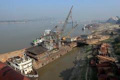 Porto fluviale sul Irrawaddy nel Myanmar immagine stock