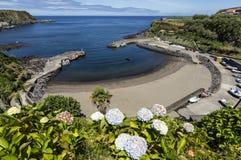 Porto Formoso strand, Sao Miguel, de Eilanden van de Azoren, Portugal Royalty-vrije Stock Foto's