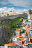 Porto funicular and wall royalty free stock image