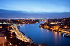 Porto and Gaia at Dusk in Portugal Royalty Free Stock Image