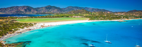 Porto Giunco strand, Villasimius, Sardinia, Italien Fotografering för Bildbyråer