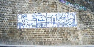 Porto gravyr på väggen Royaltyfria Bilder