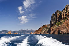 Porto Gulf in Corsica along Calanques de Piana. View of Porto Gulf in Corsica Mediterranean Sea Coastline, durinf boat trip along Calanques de Piana, magmatic royalty free stock photo