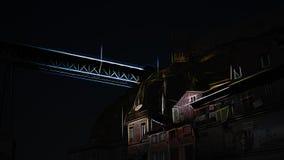 Digital old Porto historic center Royalty Free Stock Photography