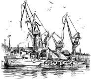 Porto industrial ilustração royalty free