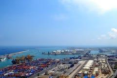 Porto industriale di Barcellona Immagini Stock Libere da Diritti