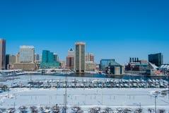 Porto interno, Baltimora: Snowpocalypse Fotografia Stock Libera da Diritti