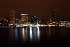 Porto interno di Baltimora alla notte Fotografia Stock