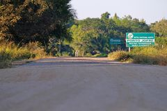 PORTO JOFRE, MATO GROSSO, BRAZIL, JULY 25, 2018: Street sign to the Hotel Pantanal Norte coming from the Transpantaneira stock image