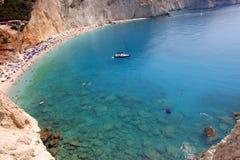 Porto Katsiki beach. Of Lefkada in Greece. above view royalty free stock photos