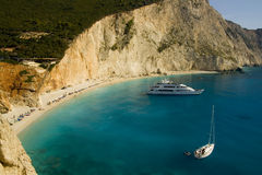 Porto Katsiki Beach with boats Royalty Free Stock Photography