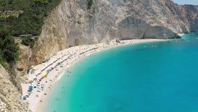 PORTO KATSIKI BEACH June 28,2017 . View of Porto Katsiki beach, Lefkada Greece stock video