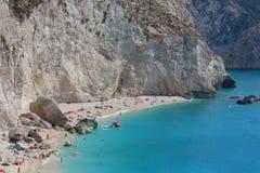 Porto Katsiki Beach Lefkada Greece. Porto Katsiki Beach in Lefkada Greece. This is one of the most famous (and beautiful!) beaches in Greece. The sea around royalty free stock image