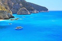 Porto Katsiki beach in Lefkada, Greece. The beautiful Porto Katsiki beach in Lefkada, Greece Royalty Free Stock Images