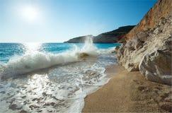 Porto Katsiki beach (Lefkada, Greece). Beautiful summer white Porto Katsiki beach on Ionian Sea (Lefkada, Greece) with sun in sky Royalty Free Stock Photography