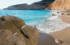 Porto Katsiki beach (Lefkada, Greece). Beautiful summer white Porto Katsiki beach on Ionian Sea (Lefkada, Greece Royalty Free Stock Photos