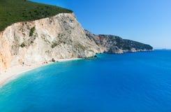 Porto Katsiki beach (Lefkada, Greece). Beautiful summer Porto Katsiki beach with white sand on Ionian Sea (Lefkada, Greece Stock Photos