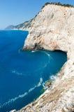 Porto Katsiki beach (Lefkada, Greece). Beautiful summer view from Porto Katsiki beach on Ionian Sea (Lefkada, Greece) with grotto Stock Photos