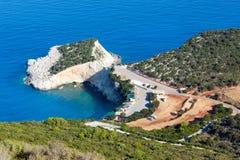 Porto Katsiki beach (Lefkada, Greece). Beautiful summer Porto Katsiki beach coast on Ionian Sea (Lefkada, Greece) view from up Royalty Free Stock Images