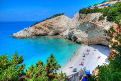 Porto Katsiki beach in Lefkada, Greece stock photos