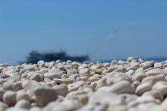 Porto Katsiki beach. In Lefkada island-summer,sun and sea,pebbles beneath the sun royalty free stock image
