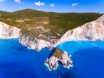 Porto Katsiki Beach Lefkada ranked the third most beautifull beack in Lefkada. Aerial view royalty free stock photo