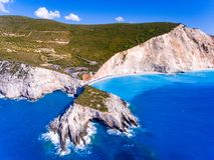 Porto Katsiki Beach Lefkada ranked the third most beautifull beack in Lefkada. Aerial view stock photo
