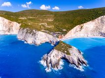 Porto Katsiki Beach Lefkada ranked the third most beautifull beack in Lefkada. Aerial view stock image
