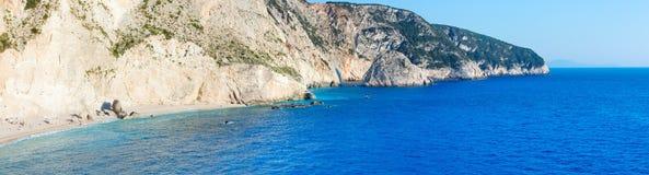 Porto Katsiki beach panorama (Lefkada, Greece). Beautiful summer Porto Katsiki beach panorama on Ionian Sea (Lefkada, Greece Stock Image