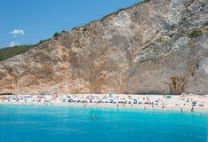 Porto Katsiki beack. People on Porto Katsiki beack in summer holiday. Lefkada island of Greece royalty free stock photo