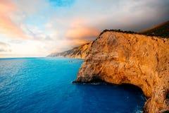 Porto Katsiki coast on Lefkada island. In Greece on the sunset stock image