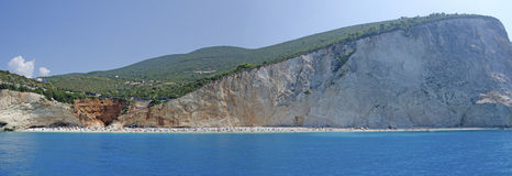 Porto Katsiki coastline. Panoramic view of the coast of Lefkada Island, at Porto Katsiki Beach, in Greece royalty free stock photo