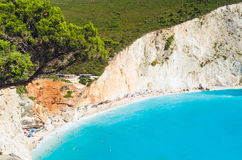 Porto Katsiki Lefkada beach from above. Porto Katsiki Lefkada beach tight shot from above Royalty Free Stock Photo